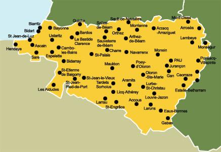 Carte des pyr n es atlantiques - Office du tourisme pyrenees atlantiques ...